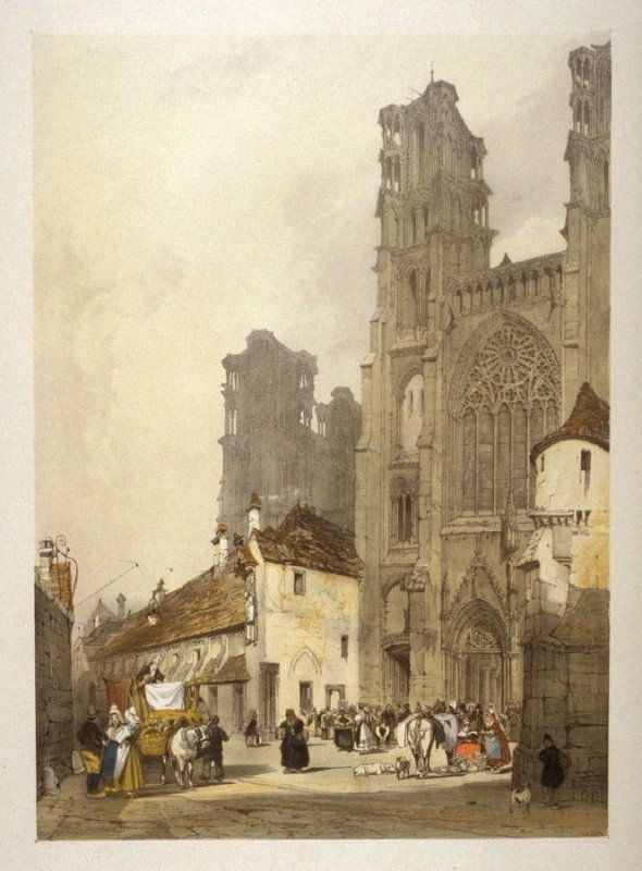 Plate 8: Laon Cathedral from the series 'Picturesque Architecture in Paris, Ghent, Antwerp, Rouen &c Drawn from Nature & on Stone'
