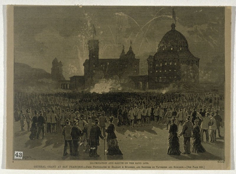 Illumination and Salute on the Sand Lots - General Grant at San Francisco - From Harper's Weekly