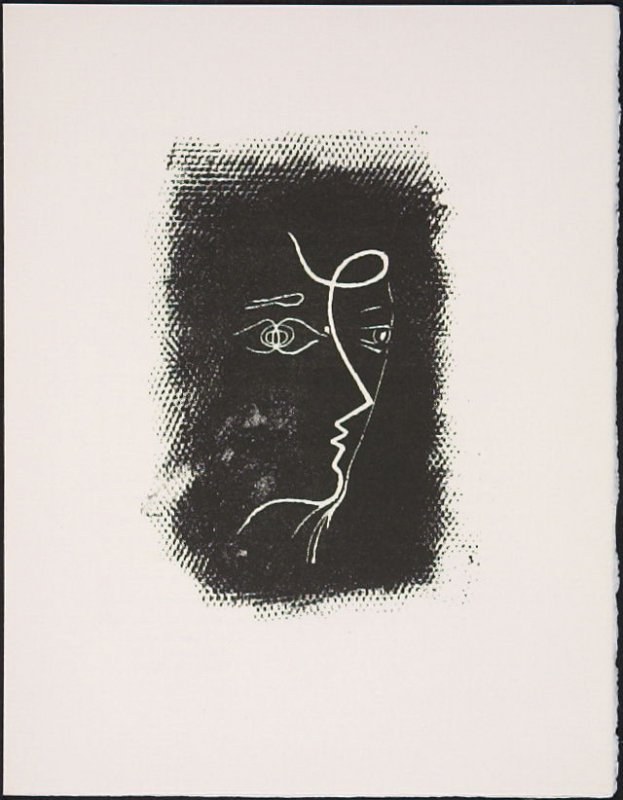 """Profil de femme"" by Georges Braque, pg. 91, in the book Souvenirs et portraits d'artistes (Reminiscences and Portraits of Artists) by Fernand Mourlot (Paris: Alain c. Mazo, 1972 and in New York: Léon Amiel, 1972)."
