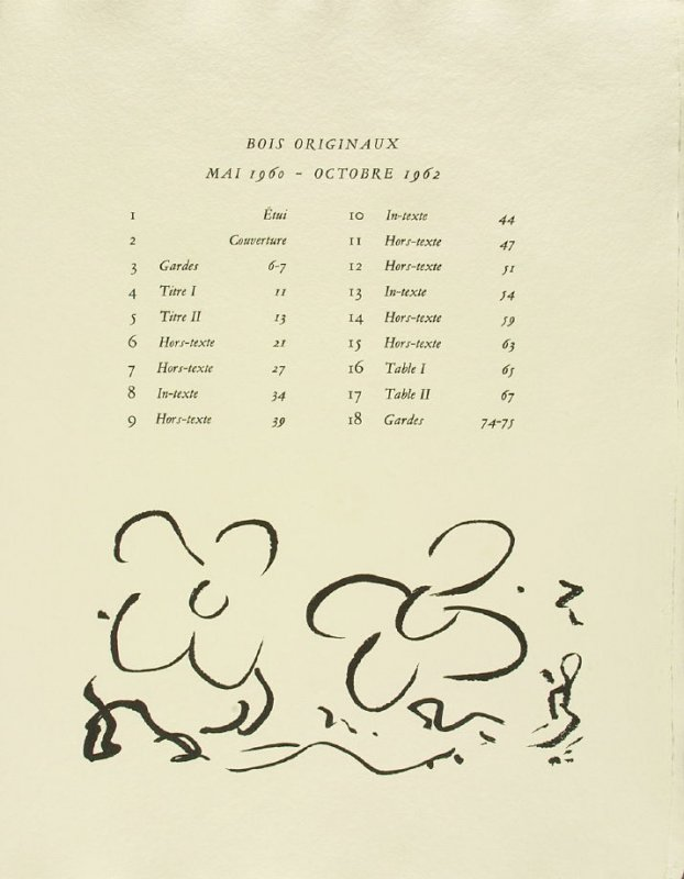Untitled, List of Illustrations page, in the book Si je mourais Là-Bas by Guillaume Apollinaire (Paris: Louis Broder, 1962).