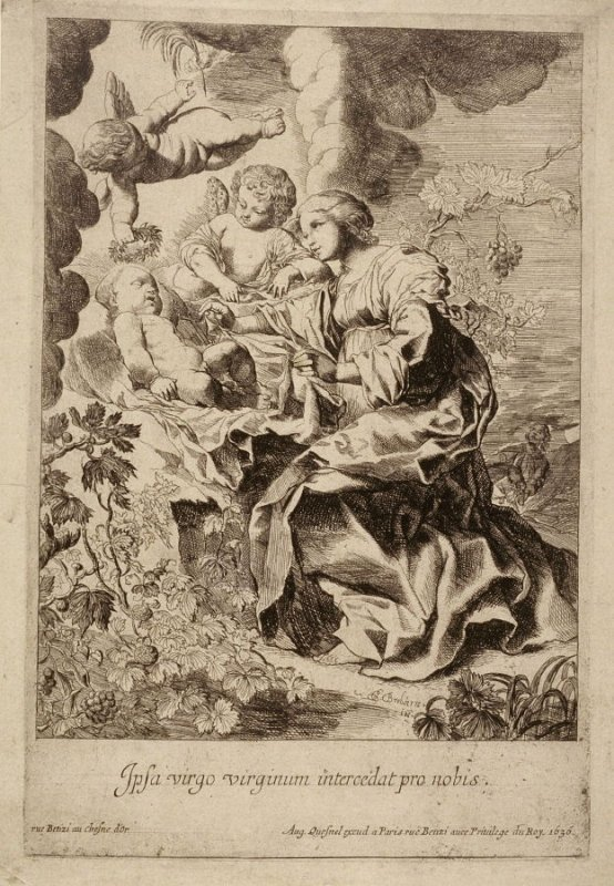 The Virgin Mary and Angels adoring the sleeping Child