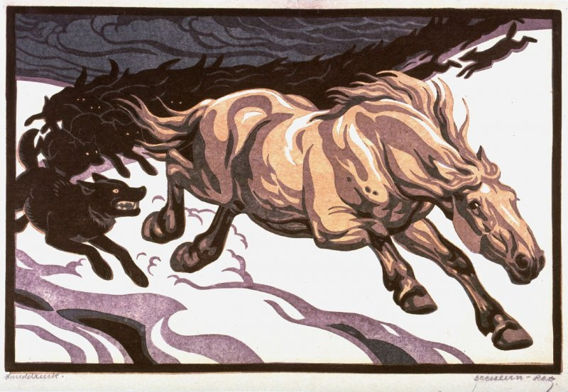 Horse Chased by Wolves