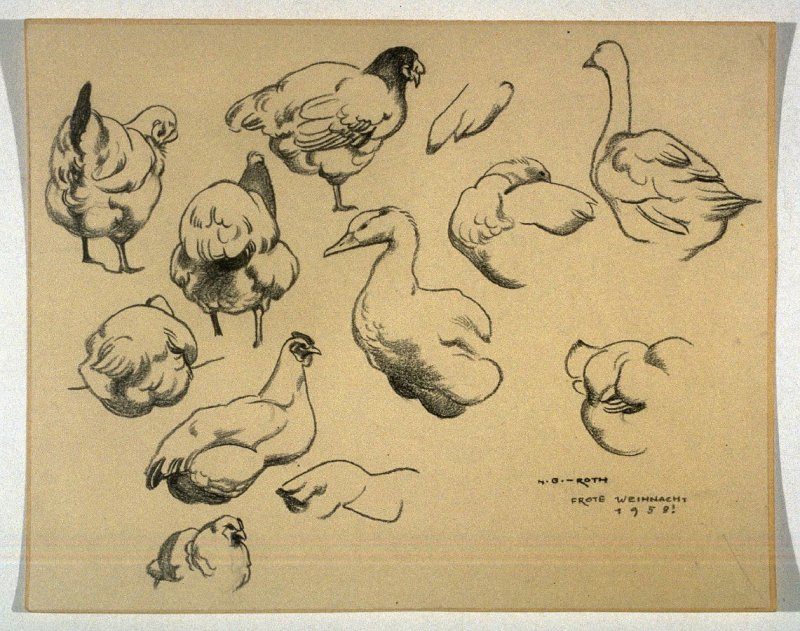 Studies of Duck and Chickens (Frohe Weihnacht 1958!/ Merry Christmas 1958!)