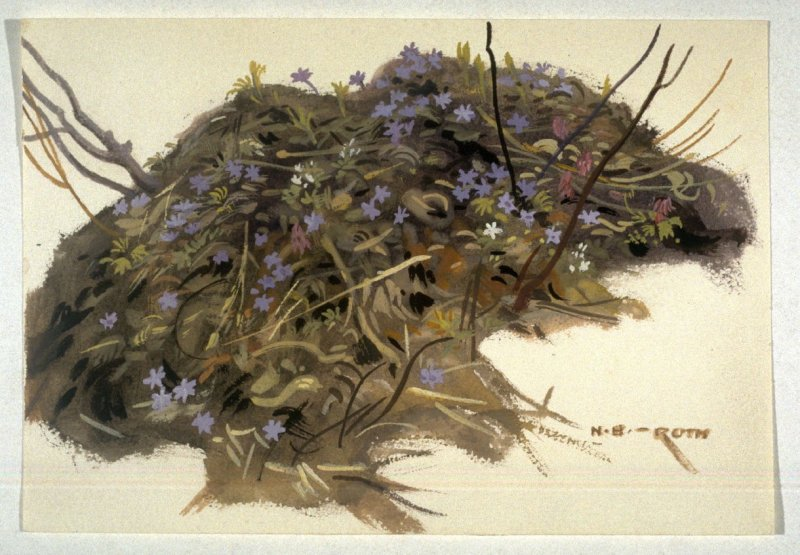 Mound of earth with flowers and twigs