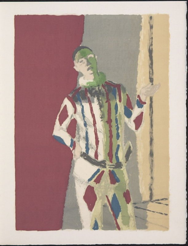 """""""L'Arlequin"""" by Maurice Brianchon, pg. 7, in the book Souvenirs et portraits d'artistes (Reminiscences and Portraits of Artists) by Fernand Mourlot (Paris: Alain c. Mazo, 1972 and in New York: Léon Amiel, 1972)."""