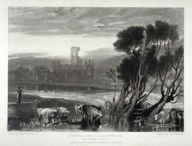 Plate 16: Kirkstall Abbey on the River Aire, from the series 'The Rivers of England' (1823-1827)