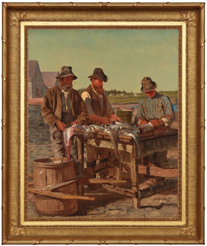 Captain Stanley with His Two Sons Cleaning their Catch of Cod; on the beach of Grand Manan Island, Bay of Fundy, New Brunswick