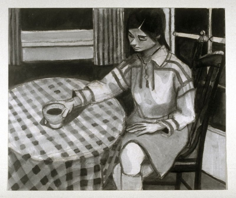 Seated Figure with Checkered Tablecloth