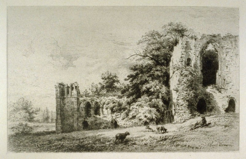 Gasby Abbey- No.X from Ruined Abbeys of Yorkshire, published in The Portfolio