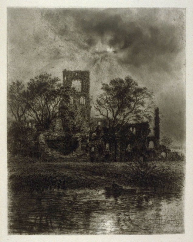 Kirkstall Abbey- No.VI from Ruined Abbeys of Yorkshire, published in The Portfolio