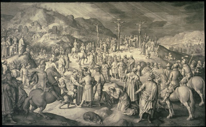 Etching of crowded crucifixion scene by Nicolaes de Bruyn 17th C