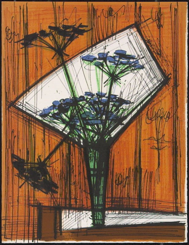 """Les ombelles"" by Bernard Buffet, pg. 193, in the book Souvenirs et portraits d'artistes (Reminiscences and Portraits of Artists) by Fernand Mourlot (Paris: Alain c. Mazo, 1972 and in New York: Léon Amiel, 1972)."