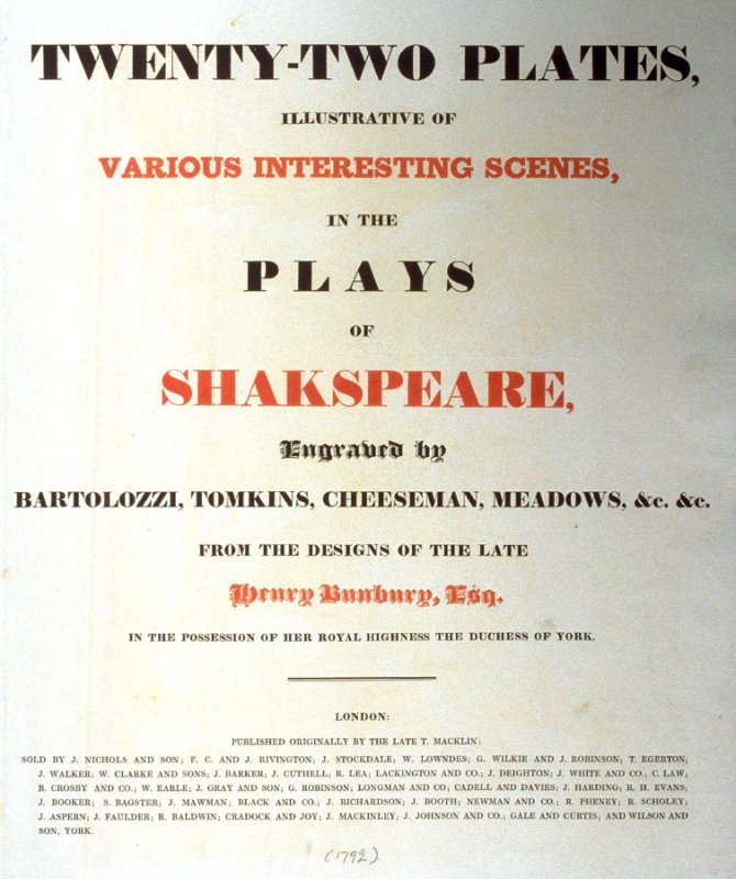 Cover sheet of Twenty-two Plates Illustrative of Various Scenes in the Plays of Shakespeare, from the Designs of the Late Henry Bunbury, Esq.
