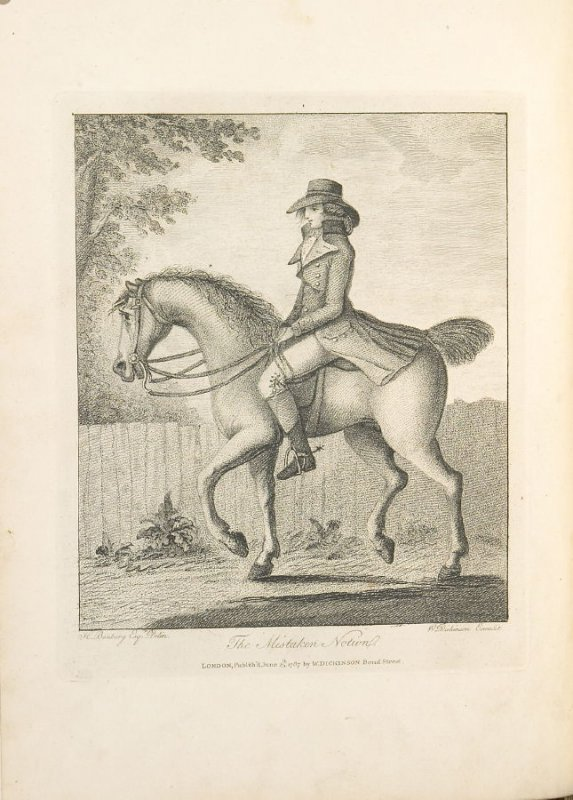 The Mistaken Notion, plate opposite page 1 in An Academy for grown Horsemen… (London: Hooper and Wigstead, 1796)