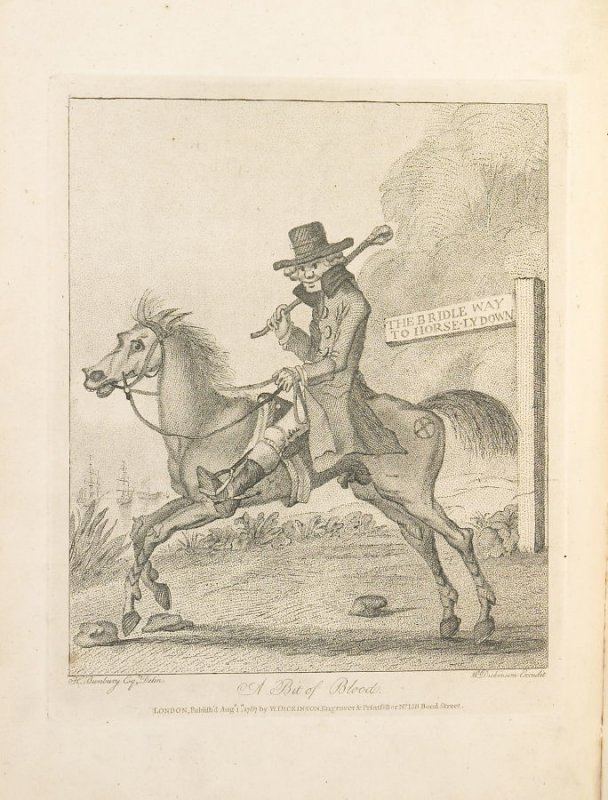 A Bit of Blood, plate opposite page 3 in An Academy for grown Horsemen… (London: Hooper and Wigstead, 1796)