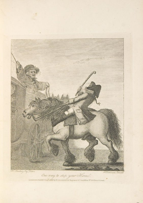 One Way to Stop Your Horse, plate opposite page 4 in An Academy for grown Horsemen… (London: Hooper and Wigstead, 1796)