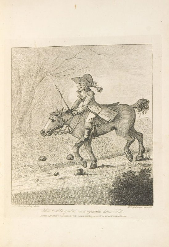 How to Ride Genteel and Agreeable Down Hill, plate opposite page 6 in An Academy for grown Horsemen… (London: Hooper and Wigstead, 1796)
