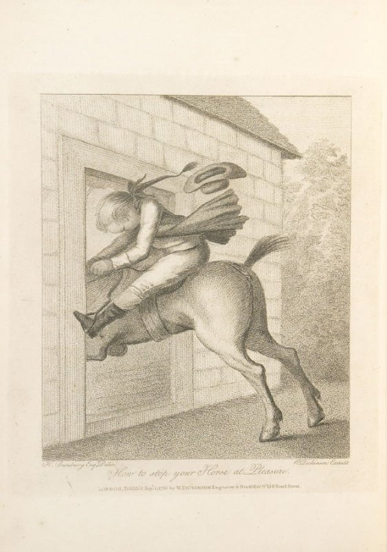 How to Stop Your Horse at Pleasure, plate opposite page 29 in An Academy for grown Horsemen… (London: Hooper and Wigstead, 1796)