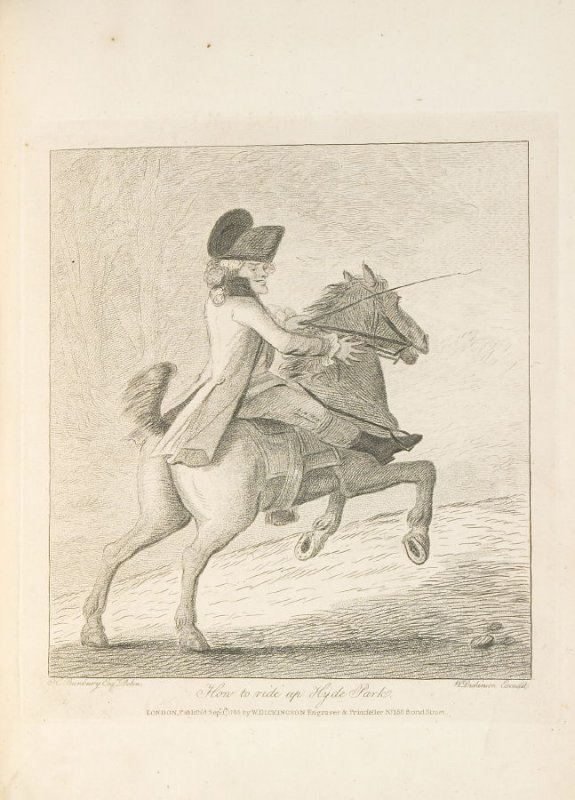 How to Ride Up Hyde Park, plate opposite page 36 in An Academy for grown Horsemen… (London: Hooper and Wigstead, 1796)