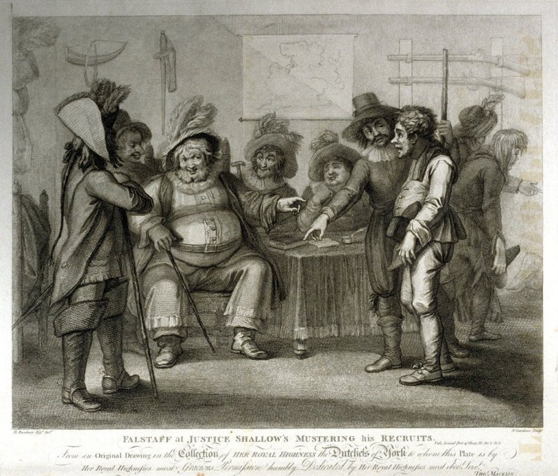 Falstaff at Justice Shallow's Mustering his Recruits - Shakespeare - Henry IV,  Act III, Scene III