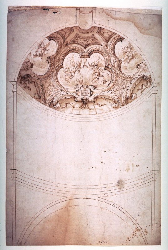 Design for a chapel in elevation with decorated apsidal basin