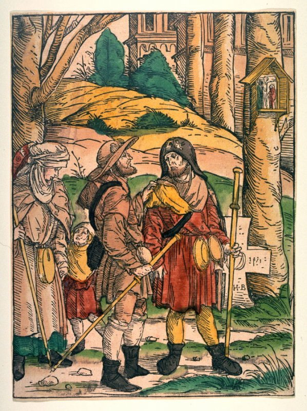 Three Pilgrims at the Crossroad, from Johann Geiler von Kaisersberg, Predigen Teutsch... (Augsburg: Johannes Otmar, 1508)