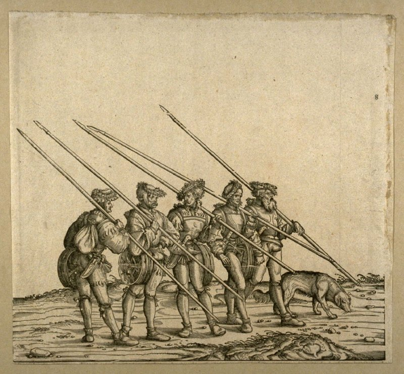 [Five men with spears] from: The Triumph of Maximilian I