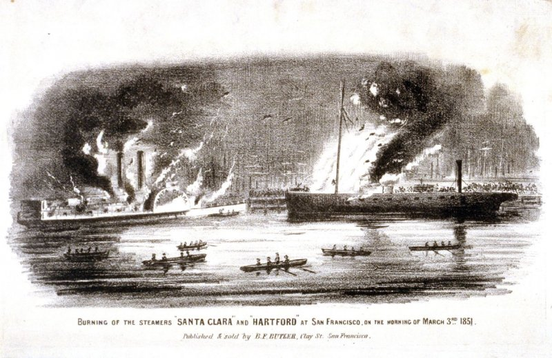 "Burning of the Steamers ""Santa Clara"" and ""Hartford"" at San Francisco, on the Morning of March 3rd 1851"