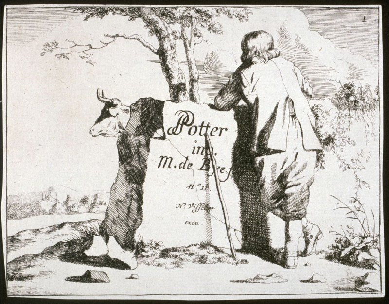 Title page: One of a set of 8 etchings of cows