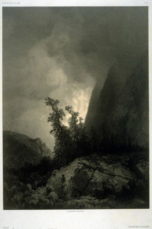 Route de Grimsel, Suisse (1853) from Fifty lithographs from Oeuvres de A. Calame