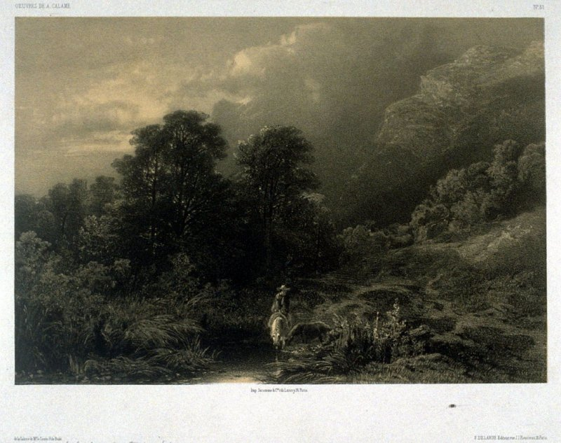 Near Interlacken, Suisse (1853) from Fifty lithographs from Oeuvres de A. Calame