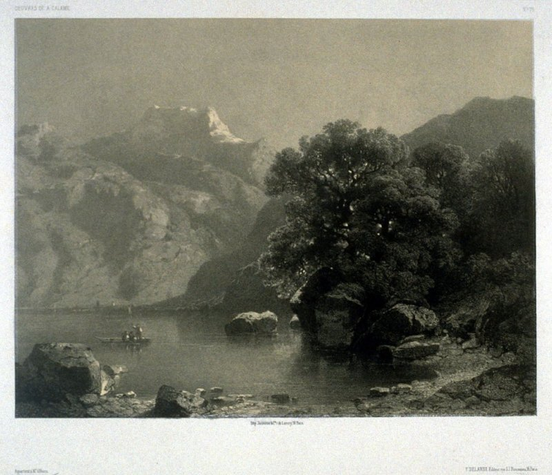 Lac de Geneve a Villeneuve, Suisse (1853) from Fifty lithographs from Oeuvres de A. Calame