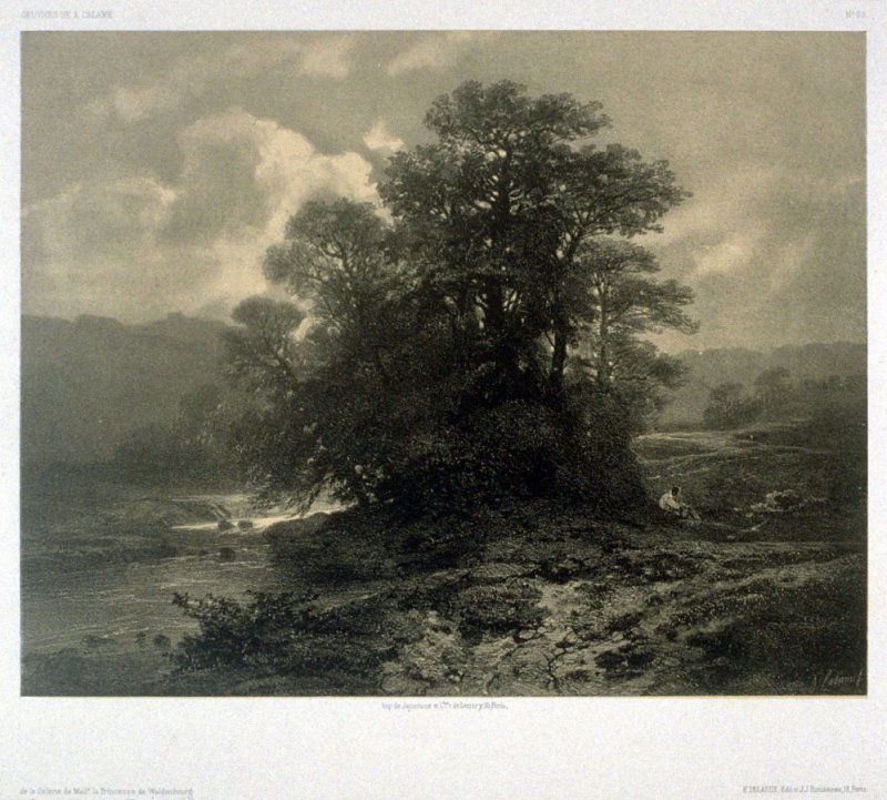 Near Geneva, Swisse (1853) from Fifty lithographs from Oeuvres de A. Calame