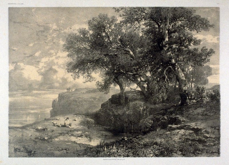 Gulf of Salermo (1851) from Fifty lithographs from Oeuvres de A. Calame