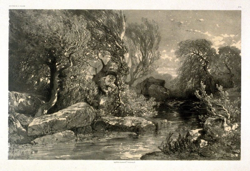A Brook Near Geneva, Suisse (1851) from Fifty lithographs from Oeuvres de A. Calame