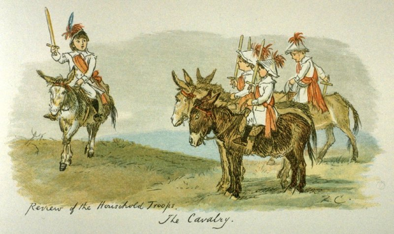 Review of the Household Troops. the Cavalry.,illustration on page 13 in the book, A Sketch-Book of R. Caldecott's. Reproduced by Edmund Evans (London and New York: George Routledge & Sons, n.d.)