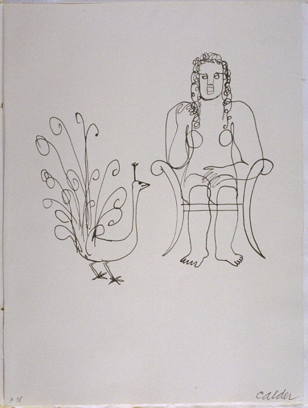 """""""A Peacock to Juno,"""" pg. 95, in the book Fables of Aesop: According to Sir Roger L'Estrange by Aesop (Paris: Harrison of Paris, 1931)"""