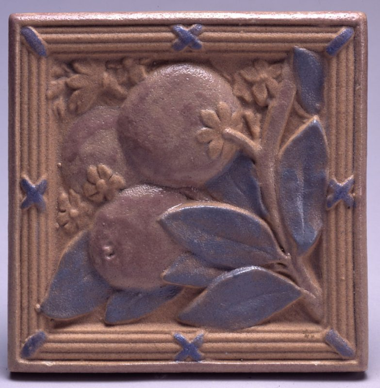 Tile with Oranges and Orange Blossoms