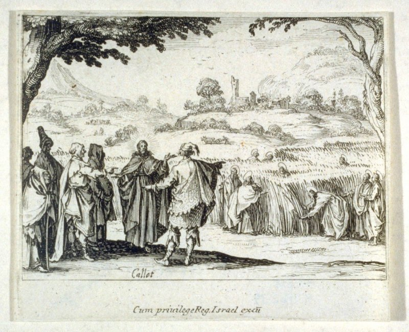 Christ debating with the Pharisees, his disciples picking corn from a field, from The New Testament