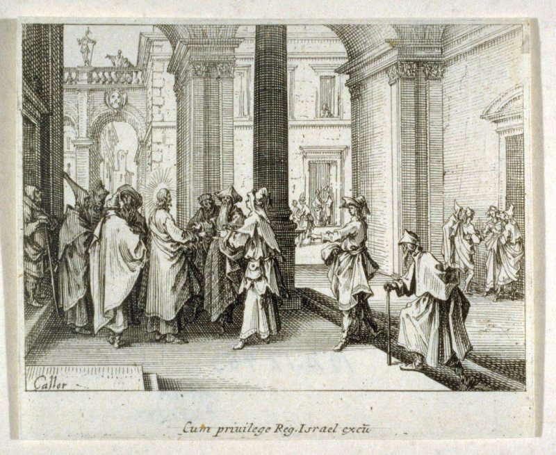 Christ posing the question of the Tribute to Caesar,  from The New Testament