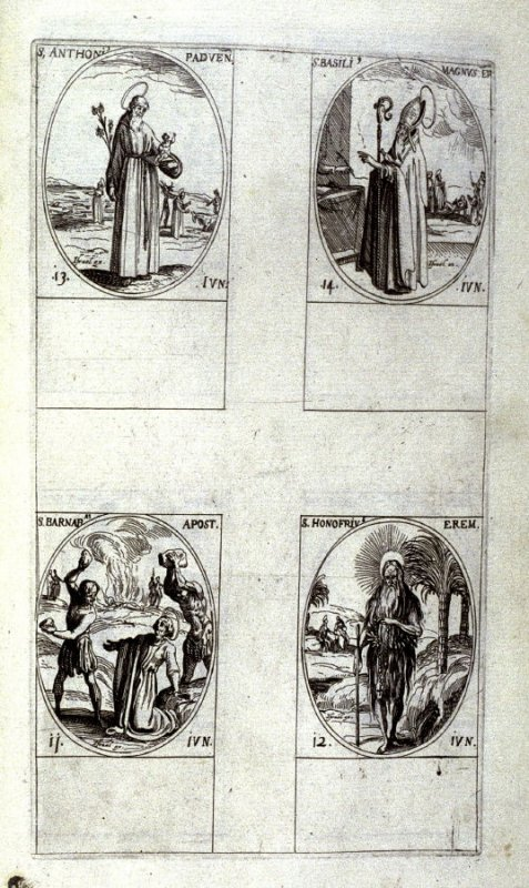 St. Anthony , January 17; St. Prisca, Virgin and Martyr, January 18; St. Germanus, January 19; Sts. Fabian and Sebastian , January 20; sixth plate from the book, Les IMAGES DE TOUS/LES SAINCTS ET SAINTES /DE L'ANNÉE... (Images of All the Saints of the Yea