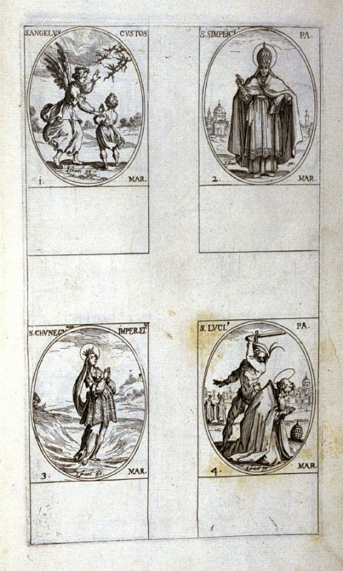 St. Angelus, Guardian, March 1; St. Simplicius, Pope, March 2; St. Cunegund, Empress and Virgin, March 3; St. Lucius,Pope, March 4; eighteenth plate from the book, Les IMAGES DE TOUS/LES SAINCTS ET SAINTES /DE L'ANNÉE... (Images of All the Saints of the Y