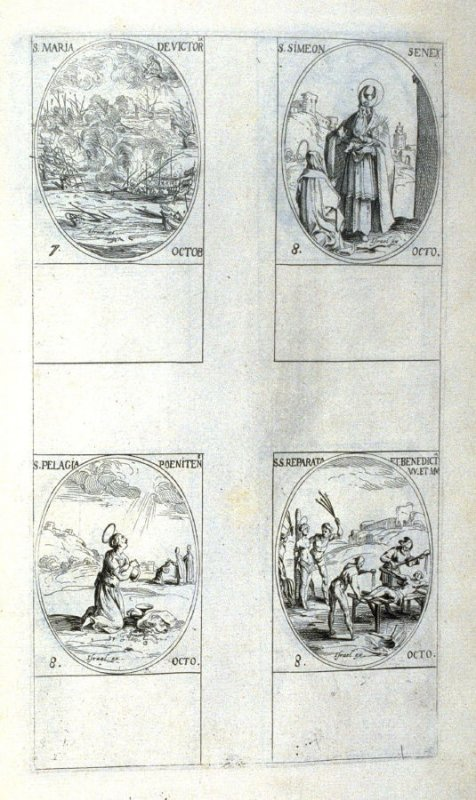 St.Mary of Victory, October 7; St. Simeon, Aged Man, October 8; St.Pelagia, Penitent , October 8; Sts. Reparata and Benedicta,Virgins and Martyrs, October 8; ninetieth plate from the book, Les IMAGES DE TOUS/LES SAINCTS ET SAINTES /DE L'ANNÉE... (Images o