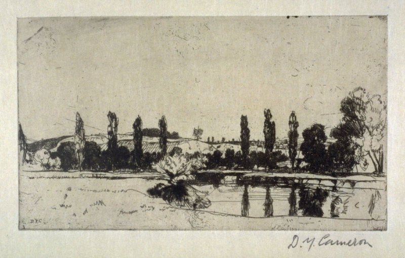 The Itchen, near Winchester from the Set of Twenty Etchings, illustrations for Compleat Angler by Isaac Walton, London 1902.