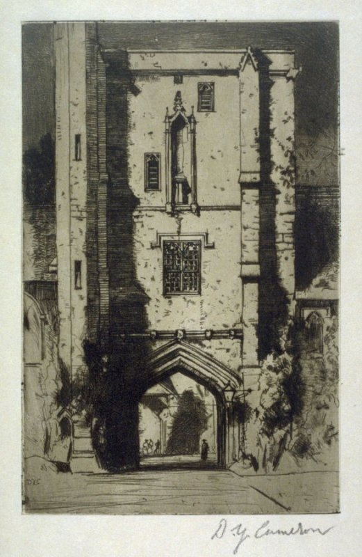 Beaufort's Tower, St. Cross from the Set of Twenty Etchings, illustrations for Compleat Angler by Isaac Walton, London 1902.