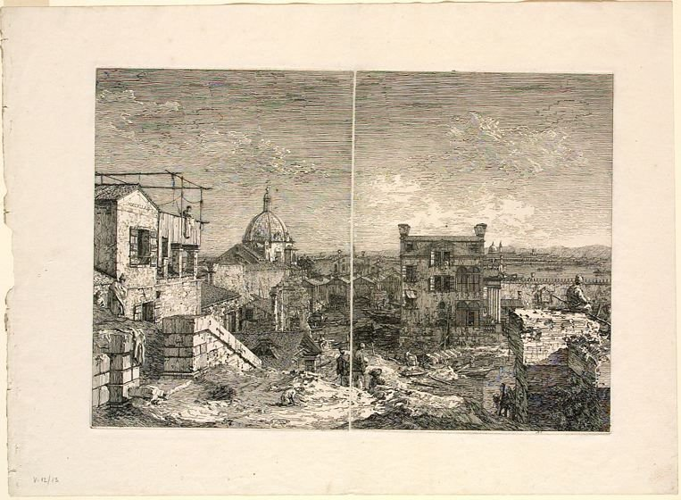 The House with the Inscription (left half of Imaginary View of Venice, undivided plate) and The House with the Peristyle (right half of Imaginary View of Venice, undivided plate)