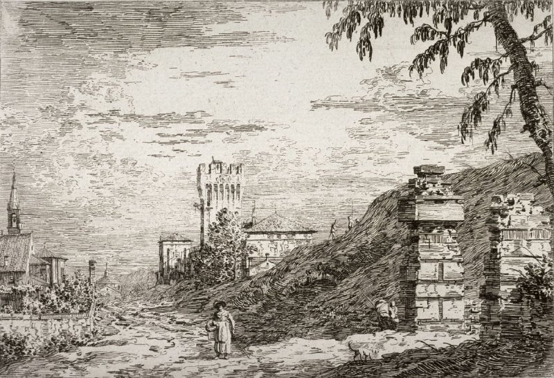 Landscape with Tower and Two Ruined pillars