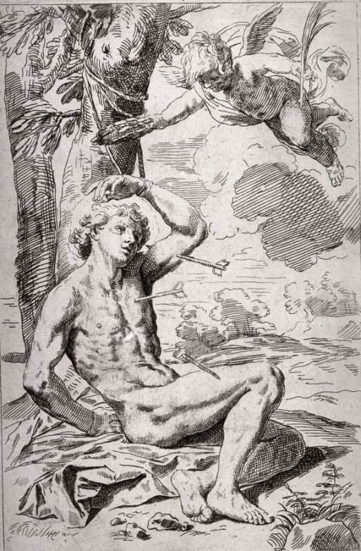 St. Sebastian, copy in reverse after the etching by S. Cantarini