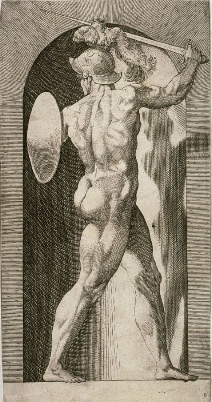 Mars, pl. 9 from the series Mythological Gods and Goddesses after Rosso Fiorentino, retouched by Francisco Villamena