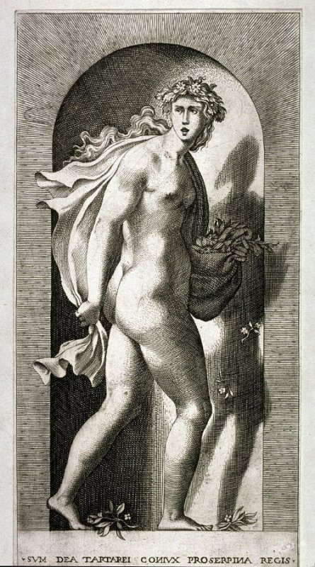 Proserpina, after Rosso Fiorentino, retouched by Francesco Villamena. From the series Mythological Gods and Goddesses